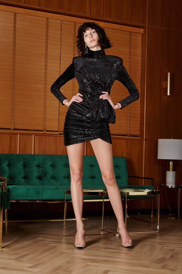 Black Sequined Long Sleeve Draped Dress