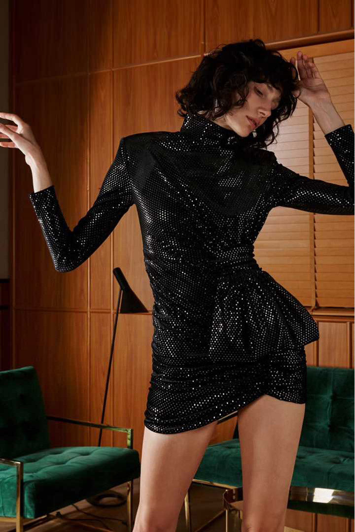 Black Deep V Sequin Bodycon Dress