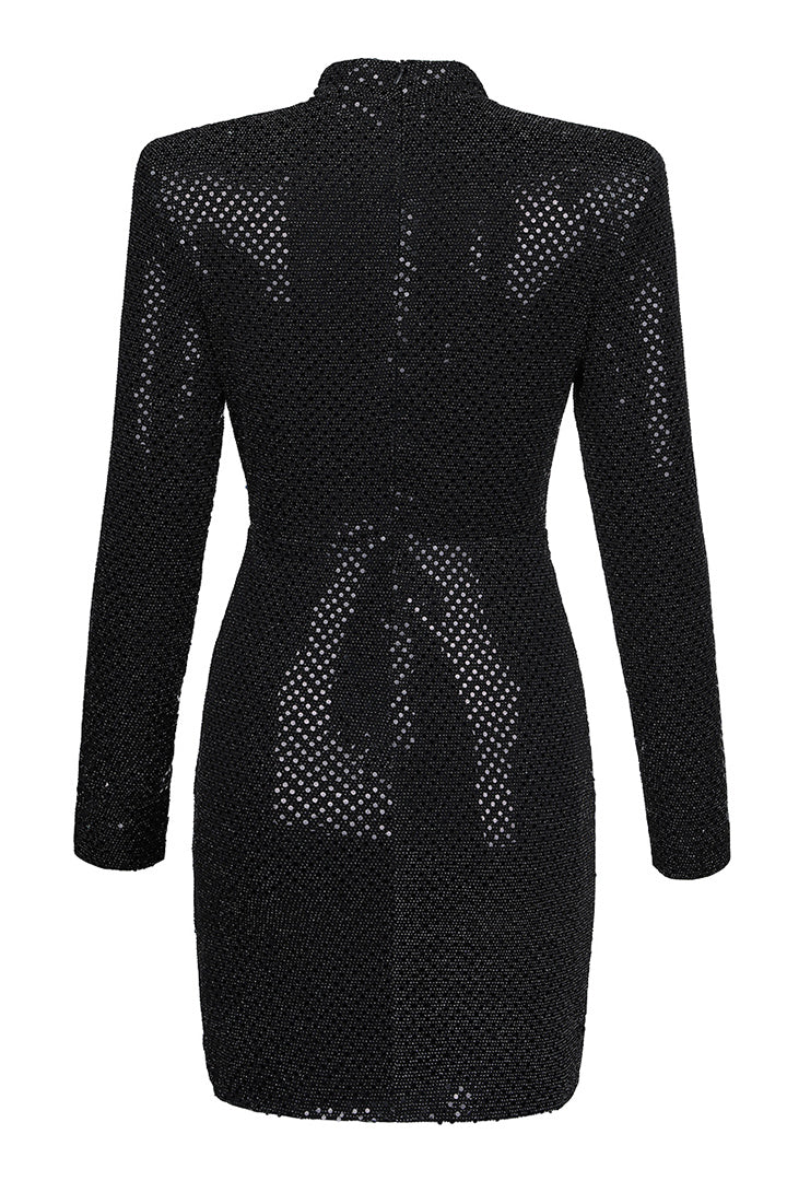 Black Sequined Long Sleeve Draped Dress - CHICIDA