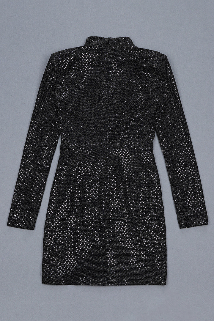 Black Ssequined Long Sleeve Draped Dress