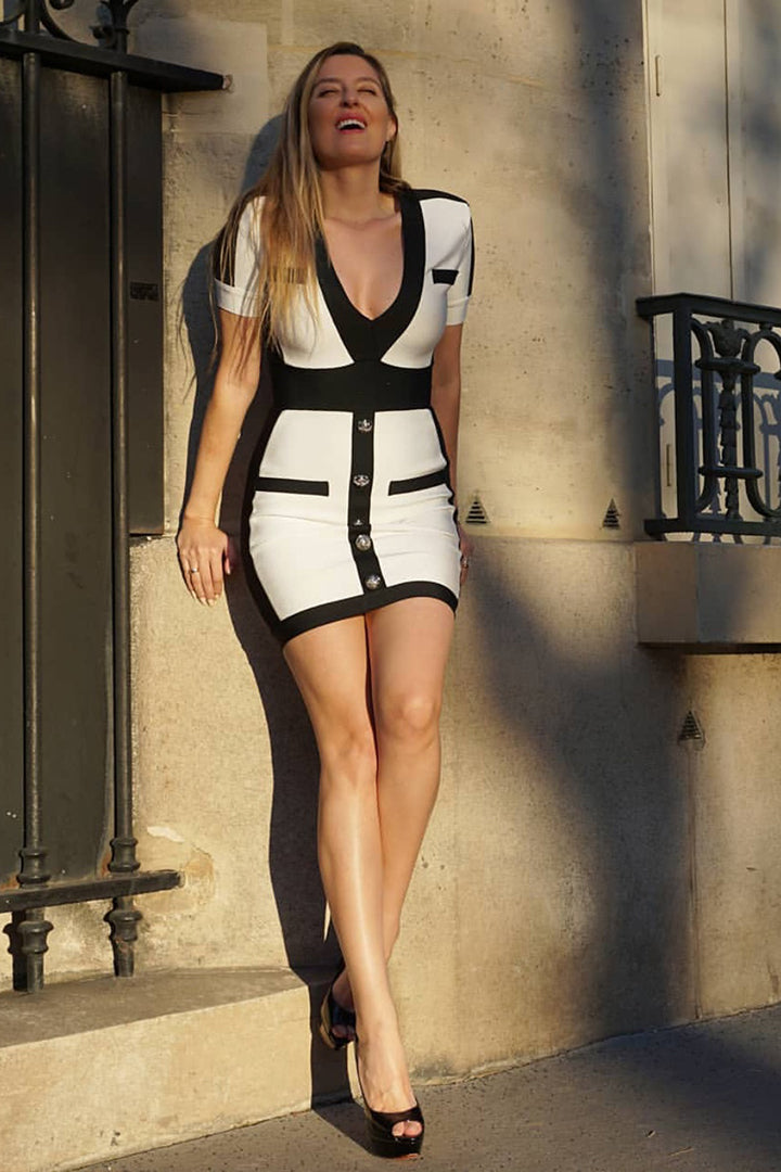 Contrast Trim Black Short Sleeve Mini Bandage Dress - CHICIDA