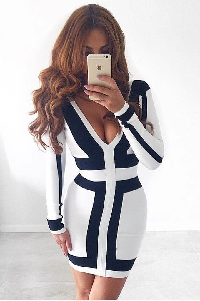 Long Sleeve V-neck Mesh Patchwork White Bandage Dress
