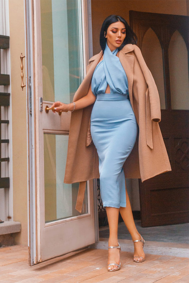 Blue Satin Backless Belt Straight Jumpsuit