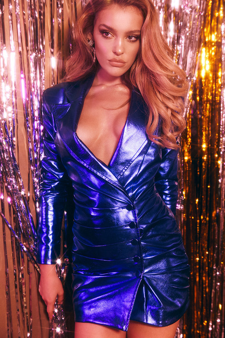 Metallic Cobalt Blazer Dress - CHICIDA
