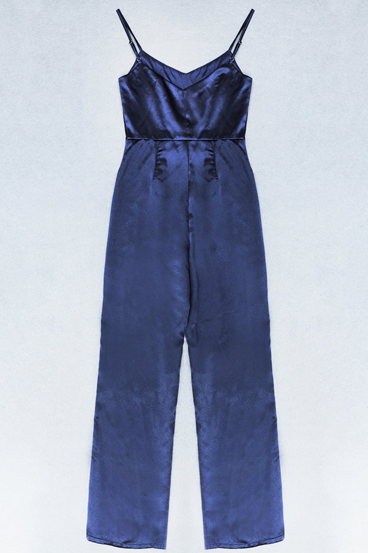 Blue Satin Backless Belt Straight Jumpsuit - CHICIDA