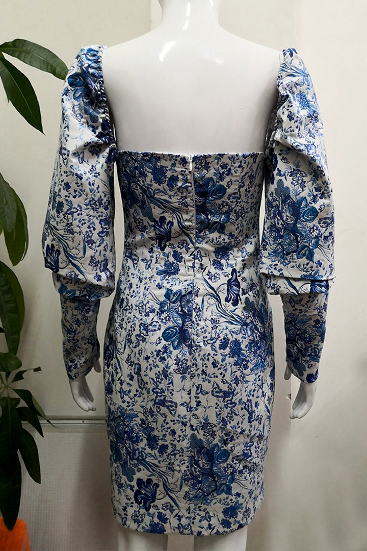 Blue White Print Puff Sleeve Dress - CHICIDA