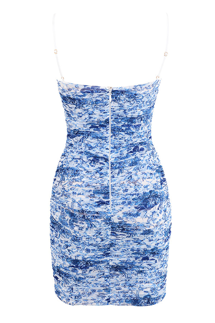Blue White Ruched Organza Mesh Mini Dress - CHICIDA