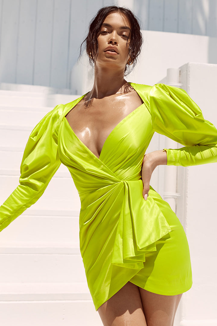 Fluorescent Yellow Pleated Long Sleeve Ruffles Mini Dress - CHICIDA