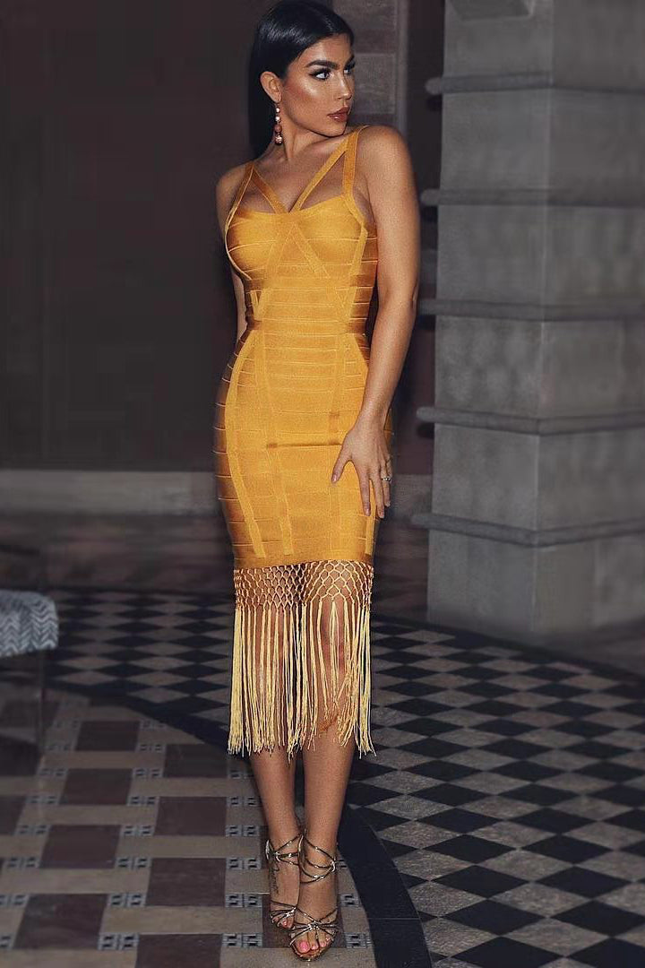 Yellow Bandage Spaghetti Strap Tassel Dress - CHICIDA