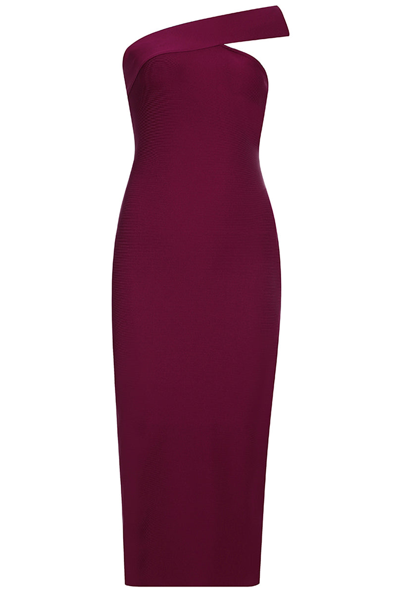 Burgundy One-Shoulder Midi Bandage Dress