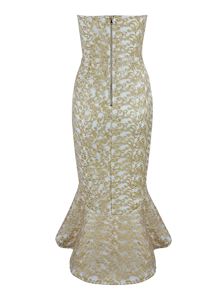 Lace Patchwork Strapless Mermaid Bandage Dress - CHICIDA