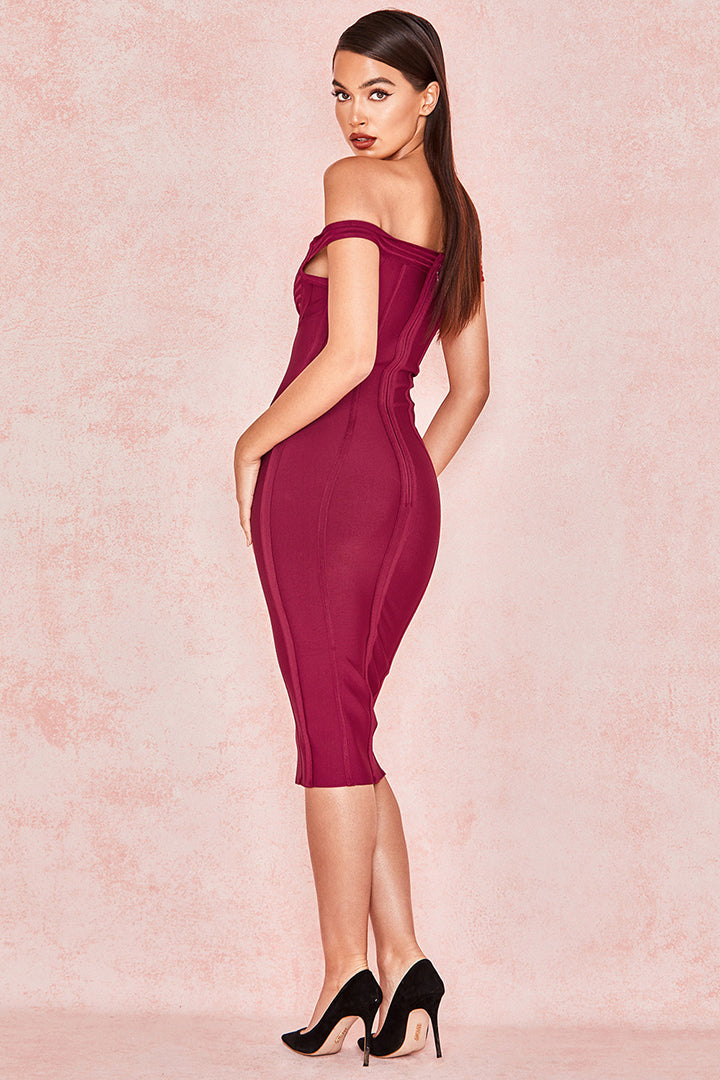 Claret Bardot Off Shoulder Bandage Dress