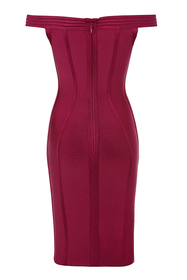 Claret Bardot Off Shoulder Bandage Dress - CHICIDA