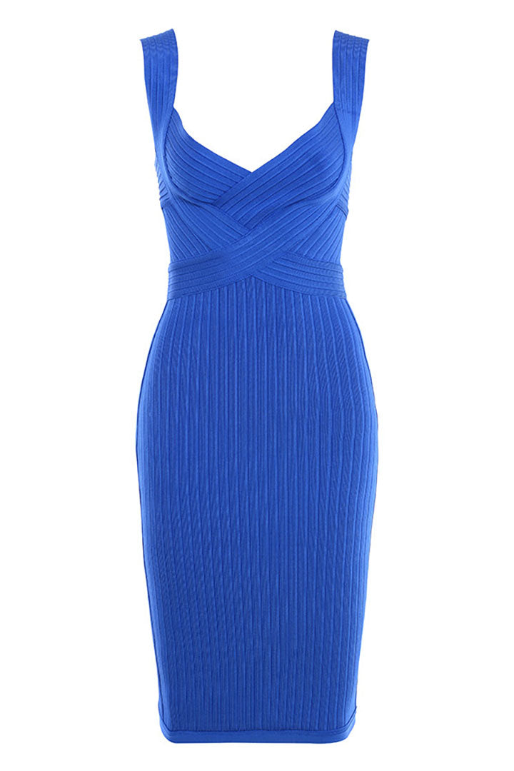 Cobalt Blue Cinch Waist bandage Dress - CHICIDA