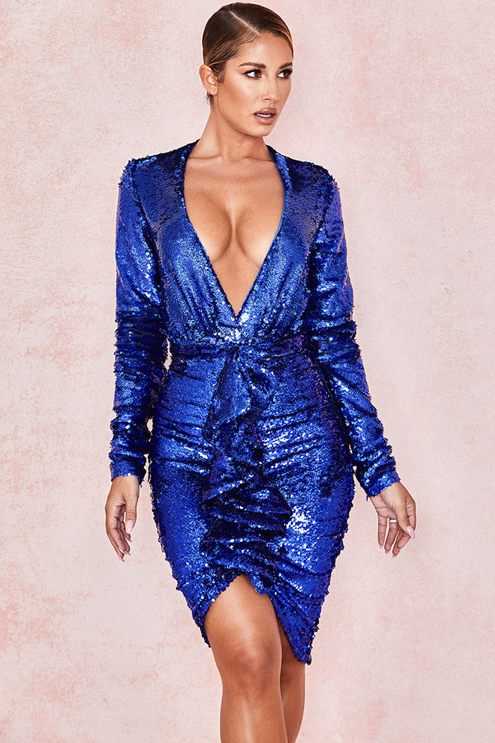 Cobalt Sequinned Plunge Front Bodysuit Draped Skirt