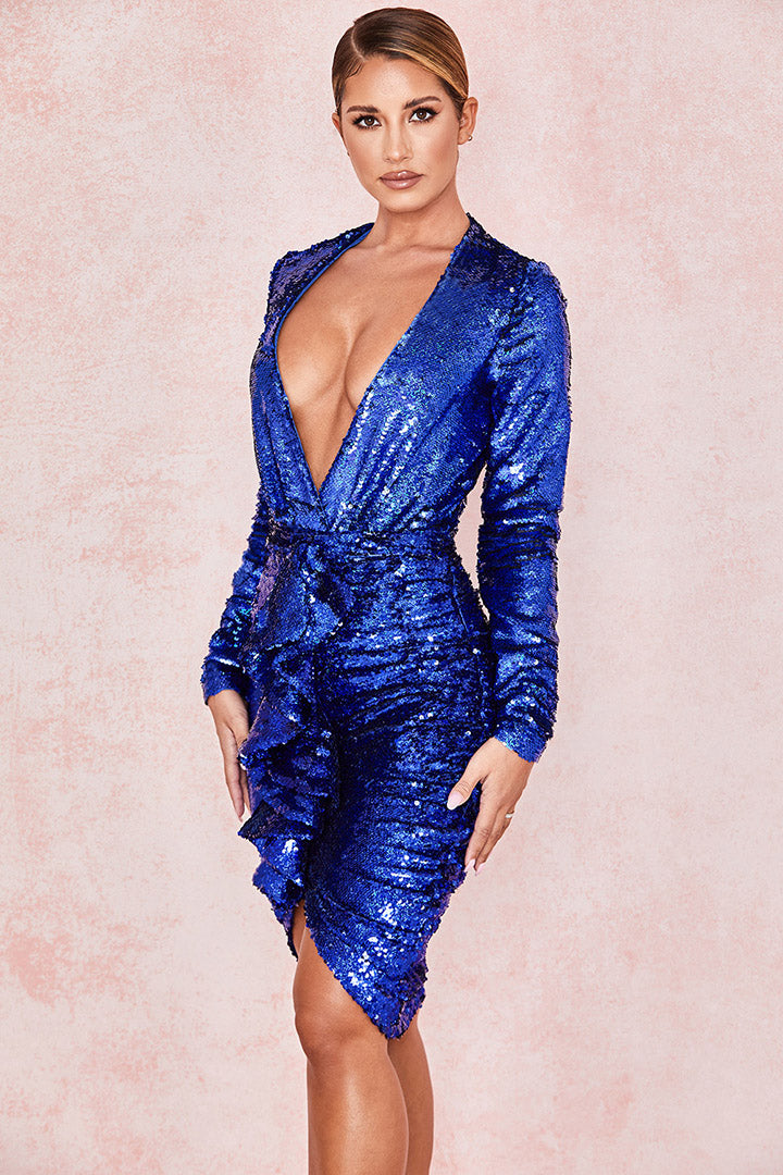 Cobalt Sequinned Plunge Front Bodysuit Draped Skirt - CHICIDA