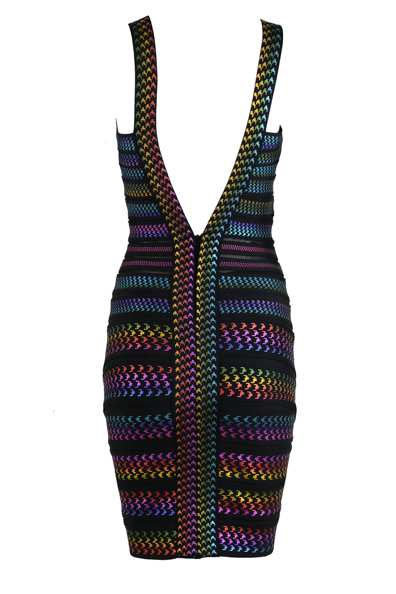 Colorful Striped V Neck bandage dress - CHICIDA
