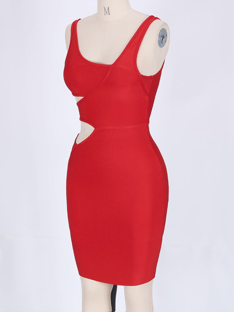 Rust Red Cut Out Mini Bandage Dress - CHICIDA