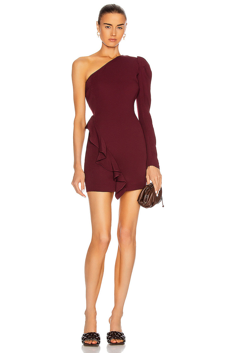 Dark Red One-shoulder Long-sleeved Ruffled Bandage Dress