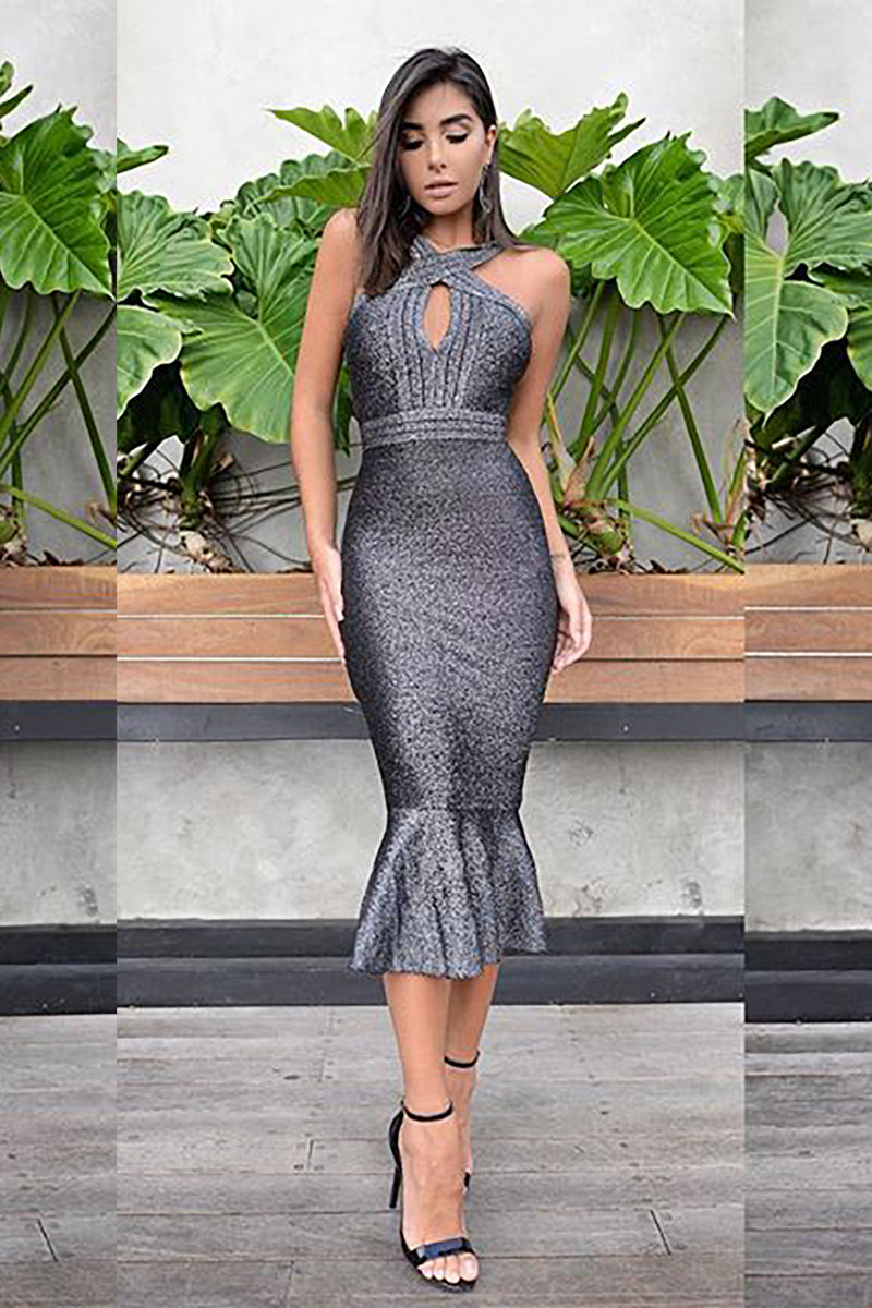 Deep Grey Halter Cross Mermaid Bandage Dress