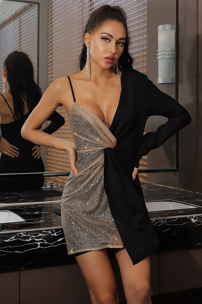 Deep V Neck One Shoulder Black Patchwork Mesh Sequins Mini Bodycon Dress