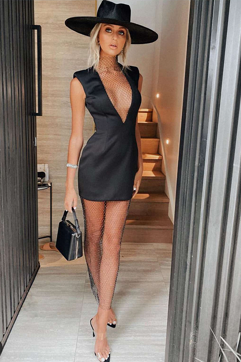 Deep V Neck Sleeveless Mesh Diamond Stitching Bodycon Dress
