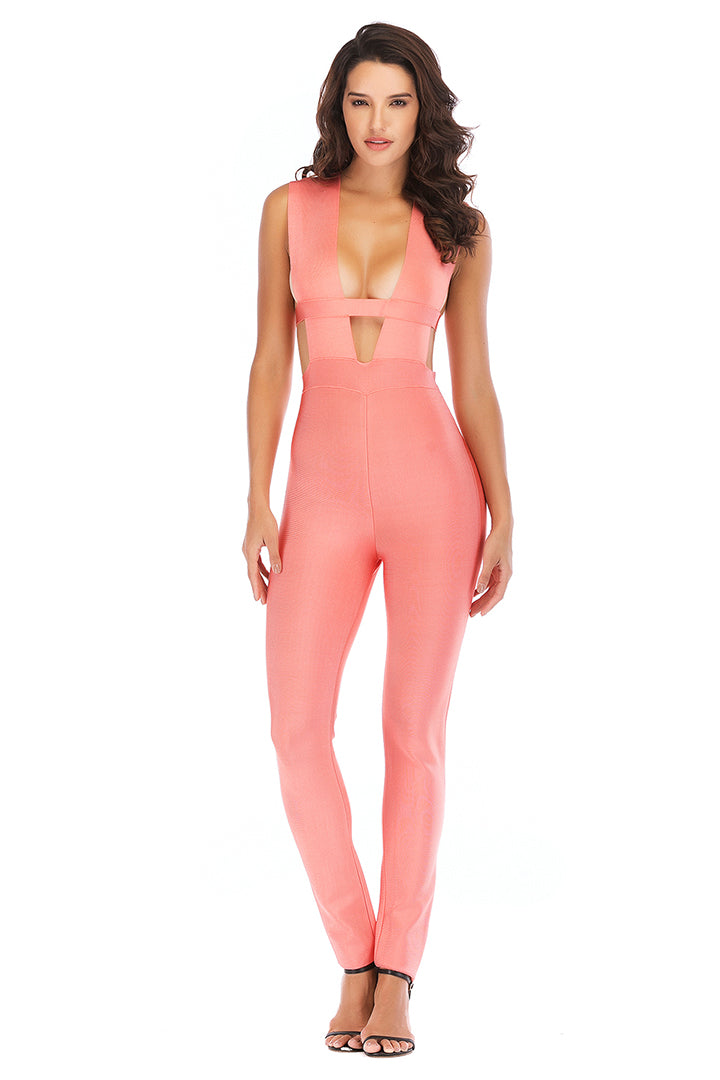 Deep V Hollow Out Bandage Jumpsuit - CHICIDA