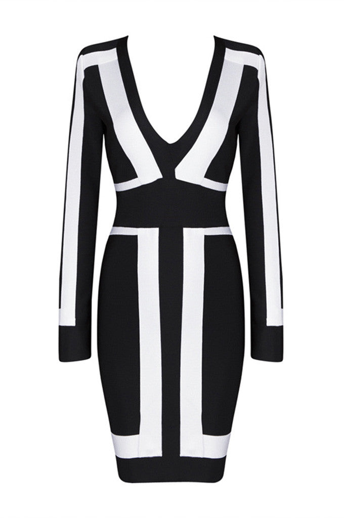 Black And White Patchwork Deep V Mini Bandage Dress - CHICIDA