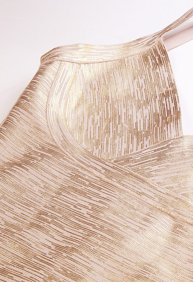 Gold Foil Print Formal Bandage Dress - CHICIDA