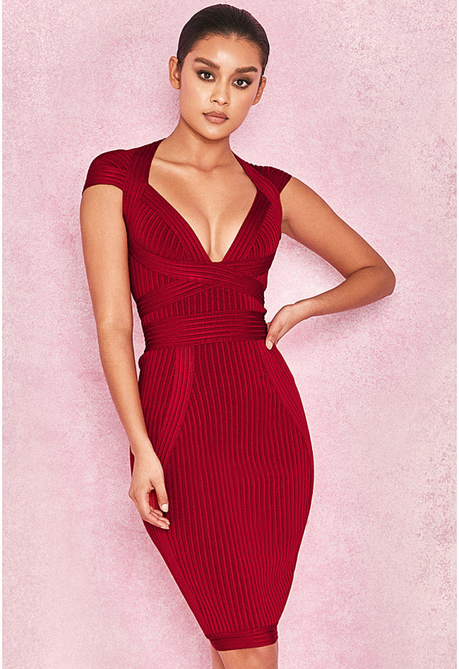 Deep V Wine Red Ribbed Cupped Bandage Dress - CHICIDA