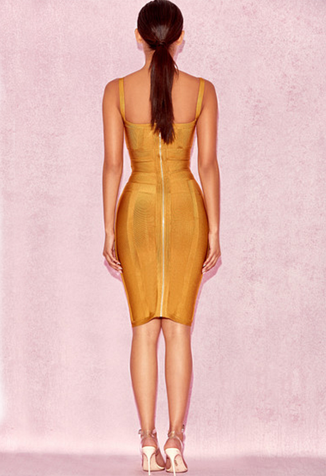 V Neck Spaghetti Strap Bandage Dress - CHICIDA