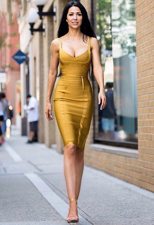 V Slash Neck Off Shoulder Knee Length Bandage Dress