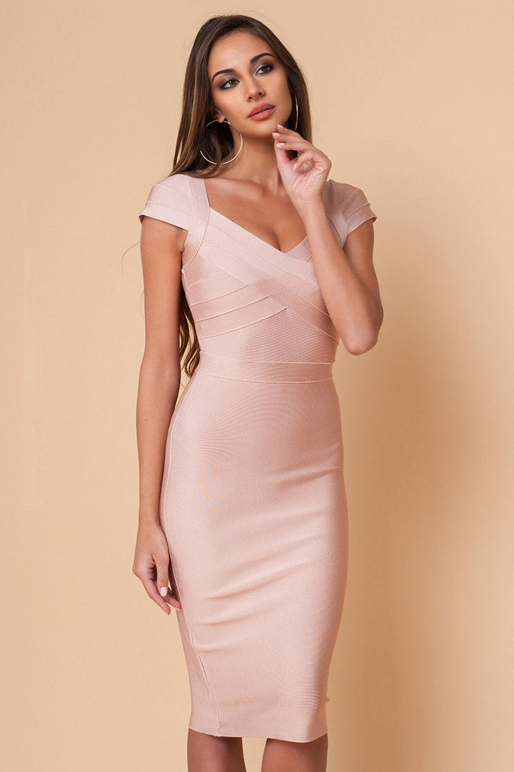 Divine Cap Sleeves Beige Bandage Dress - CHICIDA