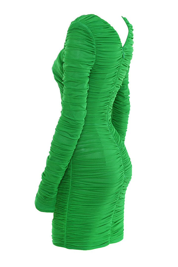 Emerald Green Rruched Organza Mesh Mini Dress - CHICIDA