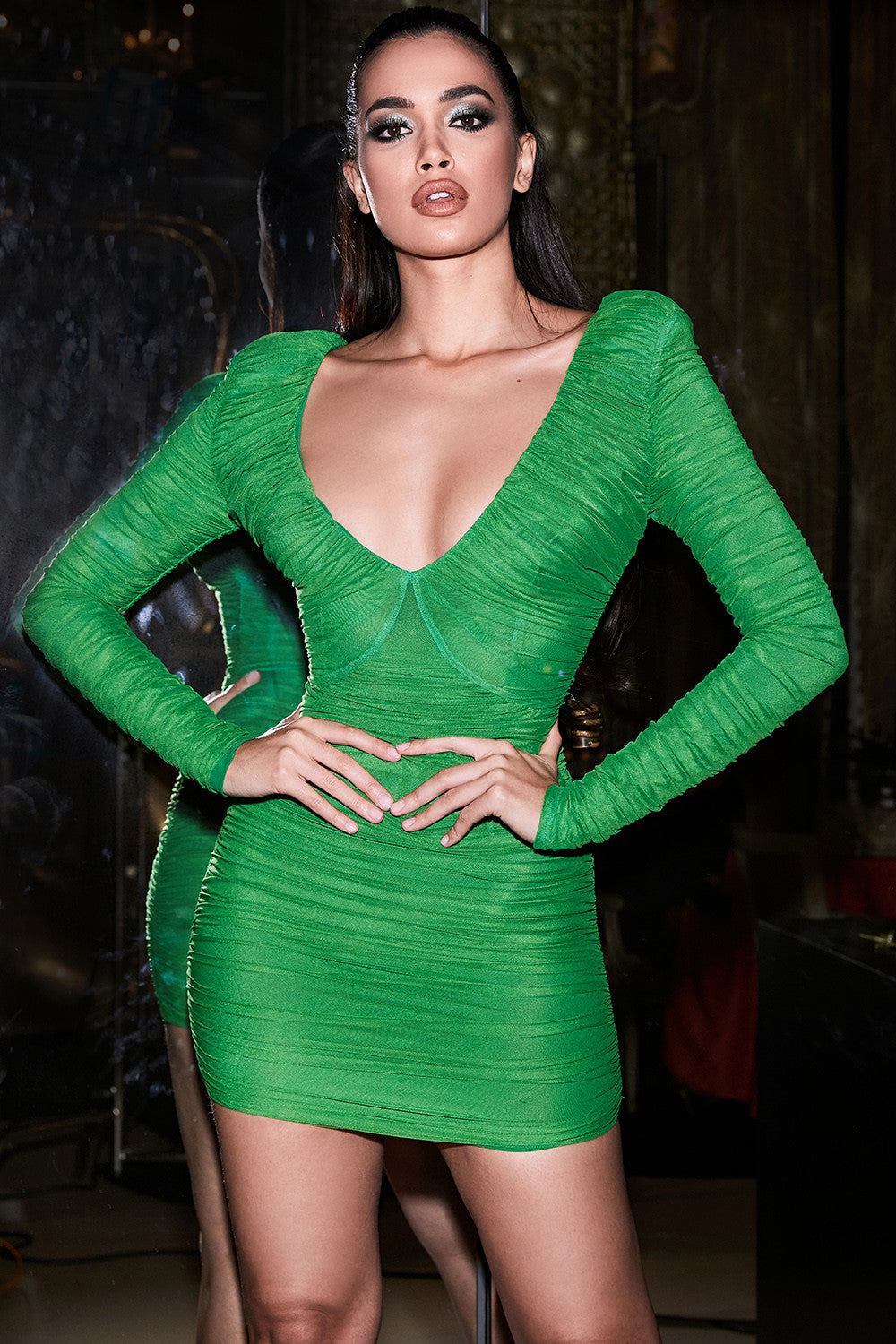 Emerald Green Rruched Organza Mesh Mini Dress