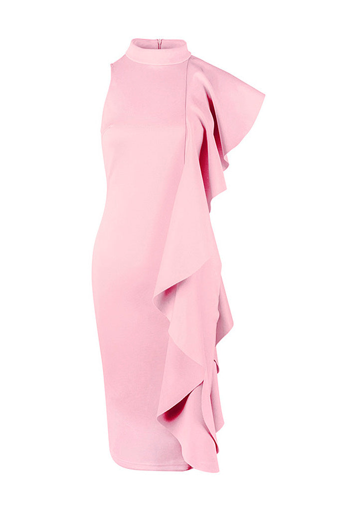 Butterfly Sleeve Waterfall Ruffle Party Dress - CHICIDA