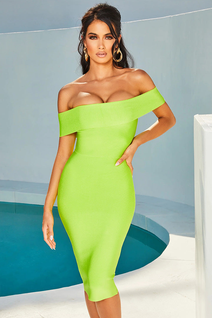 Fluorescent Green Off Shoulder Bandage Dress - CHICIDA