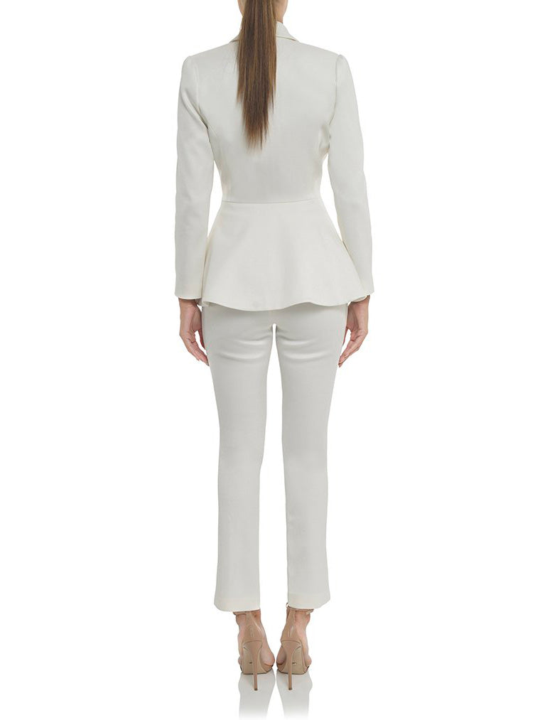 White V-Neck Pant Suits Set - CHICIDA