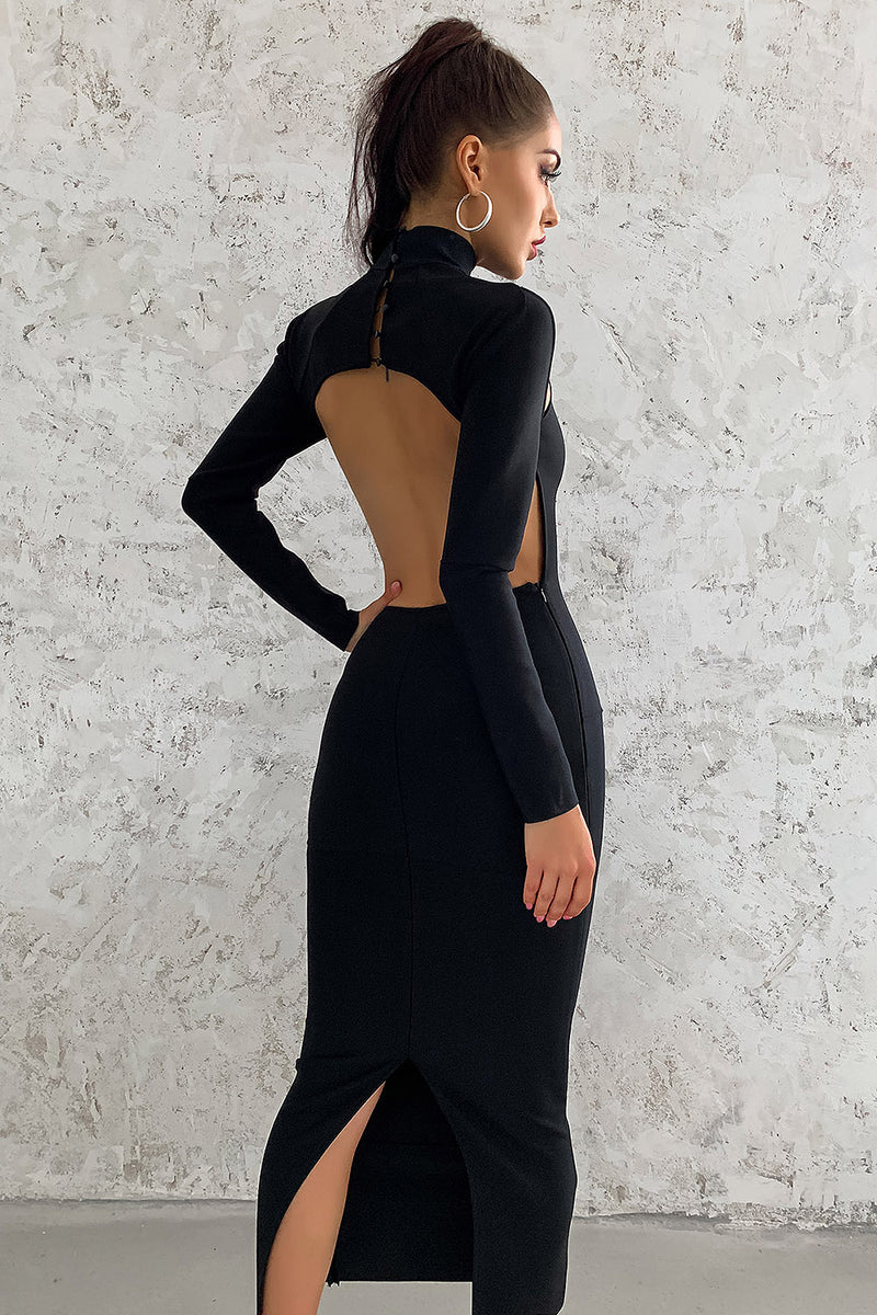 Halter High Neck Skinny Hollow Bandage Dress