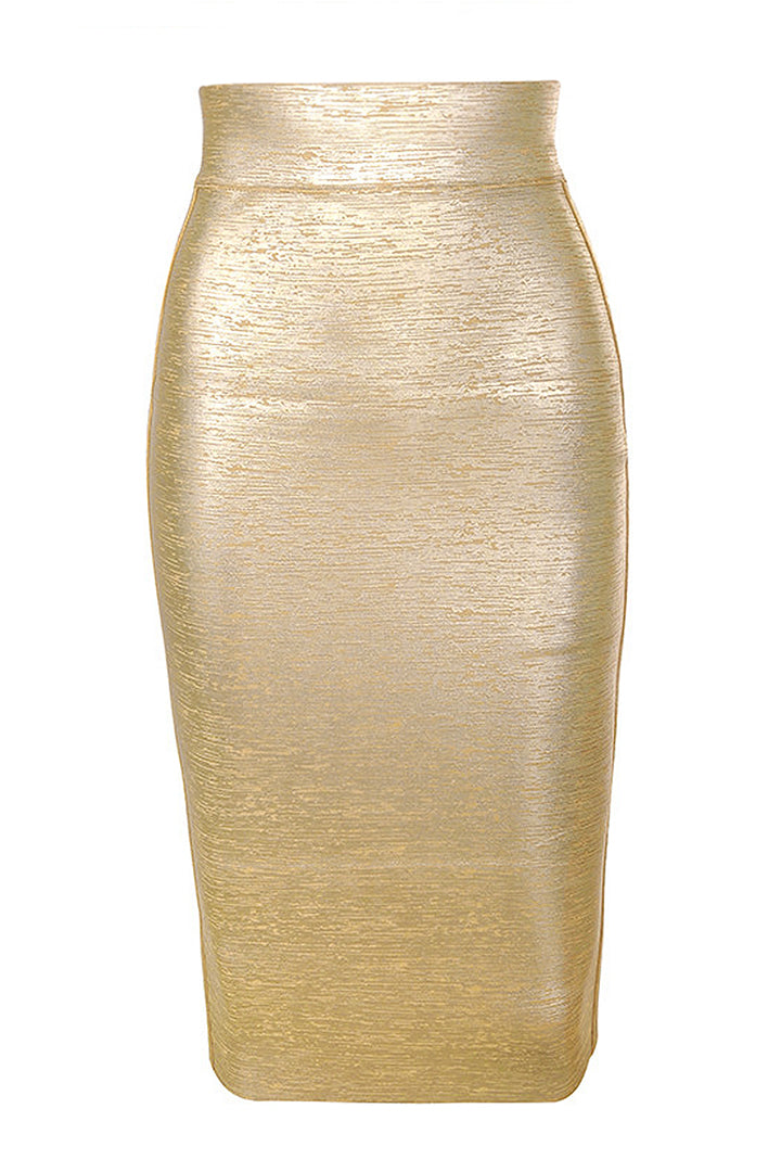 Gold Foil Bandage Super High Waisted Skirt - CHICIDA