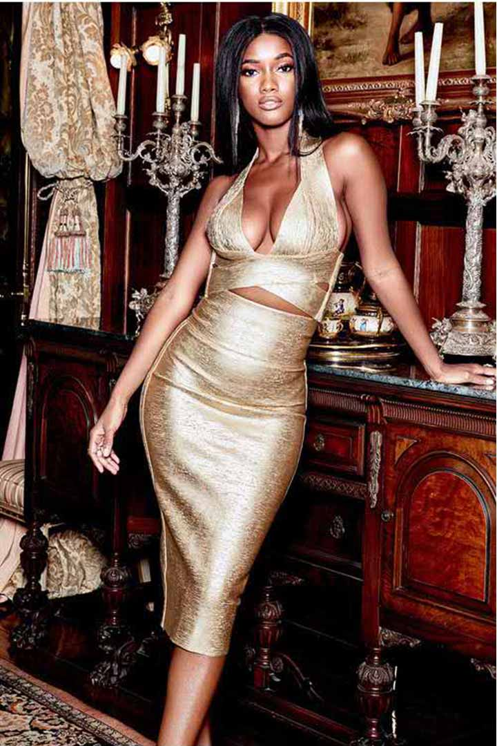 Gold Foiling Two Piece V-neck Cross Top Bandage Dress Set - CHICIDA
