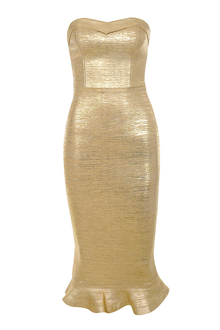 Gold Metallic Strapless Bandage Dress - CHICIDA