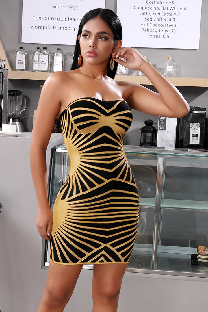 Gold Spotted Diagonal Strapless Bandage Dress
