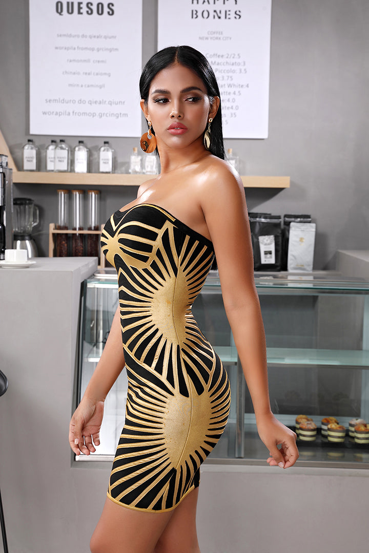 Gold Spotted Diagonal Strapless Bandage Dress - CHICIDA
