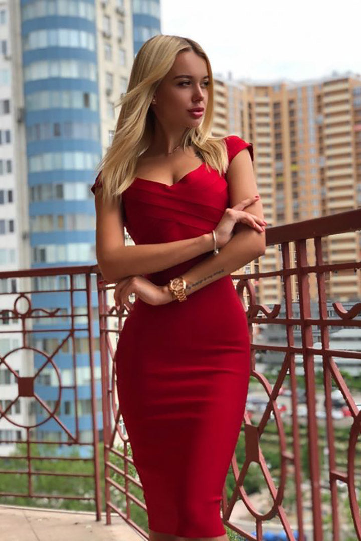 Gorgeous Cap Sleeves Red Bandage Dress - CHICIDA
