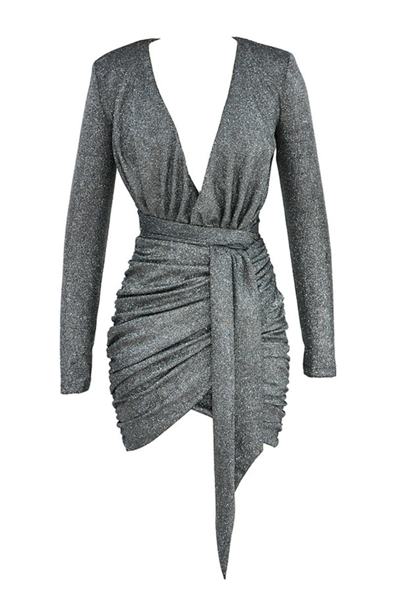 Graphite Sparkle Wrap Dress - CHICIDA
