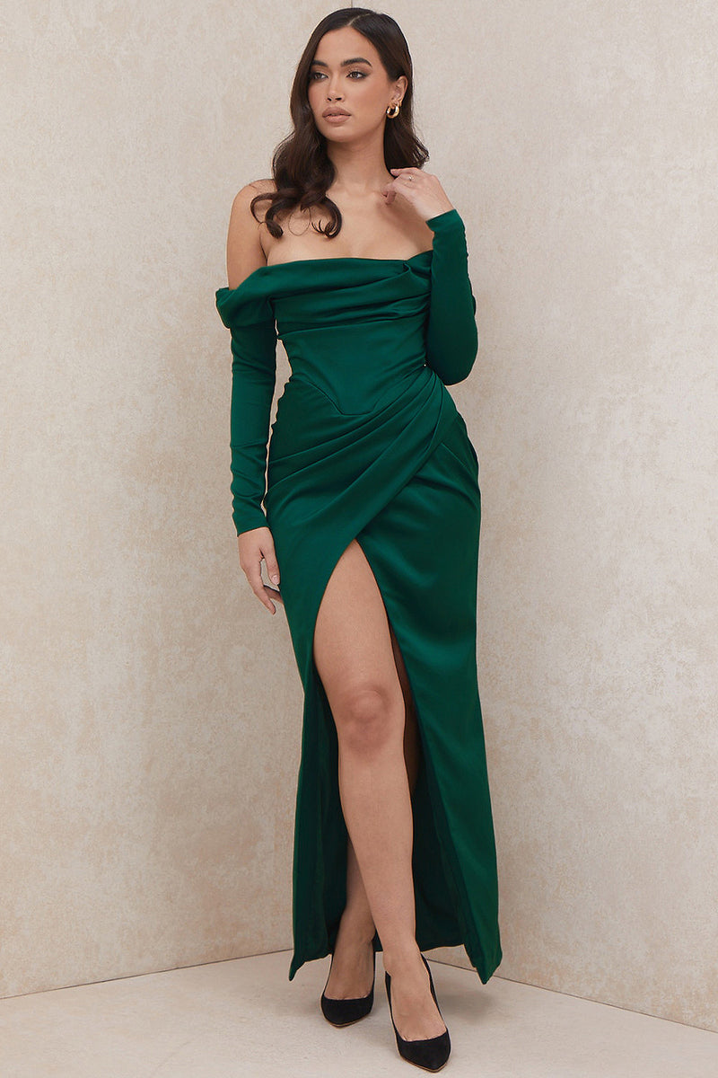 Green Off-Shoulder Long Sleeve Front Slit Draped Dress