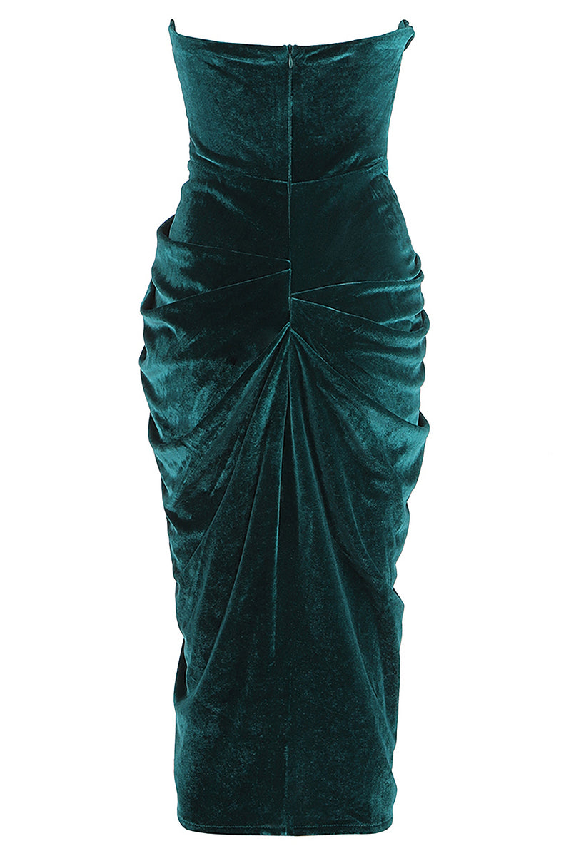 Green Velvet Sleeveless Draped Split Dress