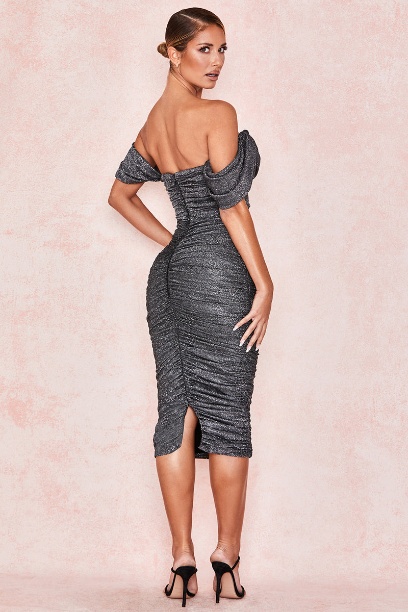 Grey Lurex Sparkle Off-shoulder Dress - CHICIDA