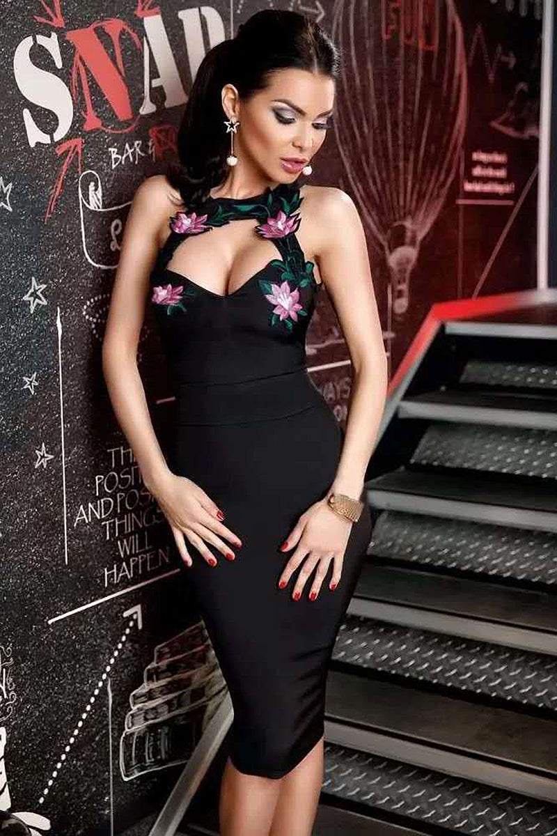 Black Sequin Strapless Bandage Dress